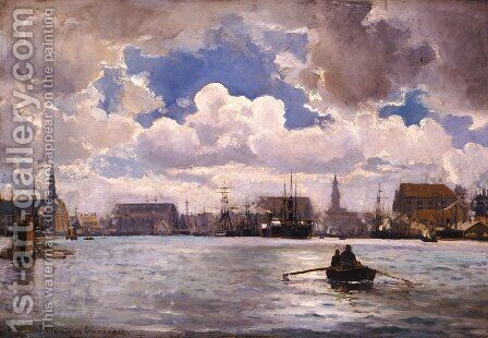 The Port of Copenhagen by Ioannis (Jean H.) Altamura - Reproduction Oil Painting