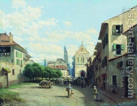Norman city by Aleksei Petrovich Bogolyubov - Reproduction Oil Painting