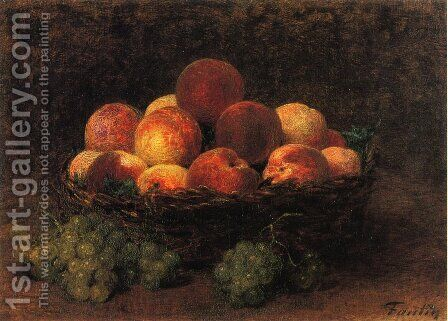 Basket of Peaches by Ignace Henri Jean Fantin-Latour - Reproduction Oil Painting