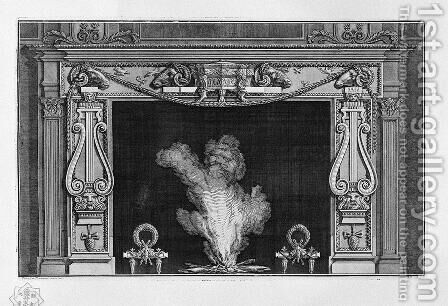 Fireplace with two large lire on the sides, and four rams' heads in the frieze by Giovanni Battista Piranesi - Reproduction Oil Painting