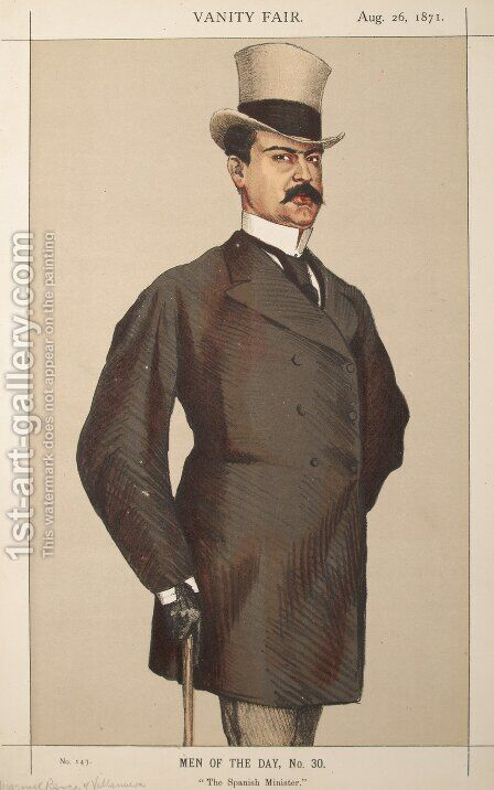 Men or Women of the Day No.300 Caricature of Don Manuel Rances-y-Villanueva by James Jacques Joseph Tissot - Reproduction Oil Painting