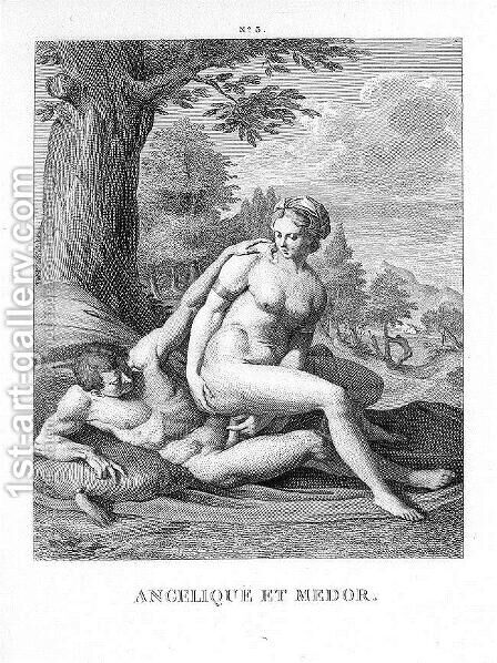 Angelica and Medor by Agostino Carracci - Reproduction Oil Painting