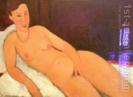 Nude with Coral Necklace by Amedeo Modigliani - Reproduction Oil Painting