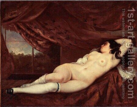 Sleeping Nude Woman by Gustave Courbet - Reproduction Oil Painting