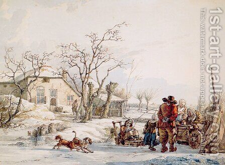 Winter landscape by Abraham van, I Strij - Reproduction Oil Painting