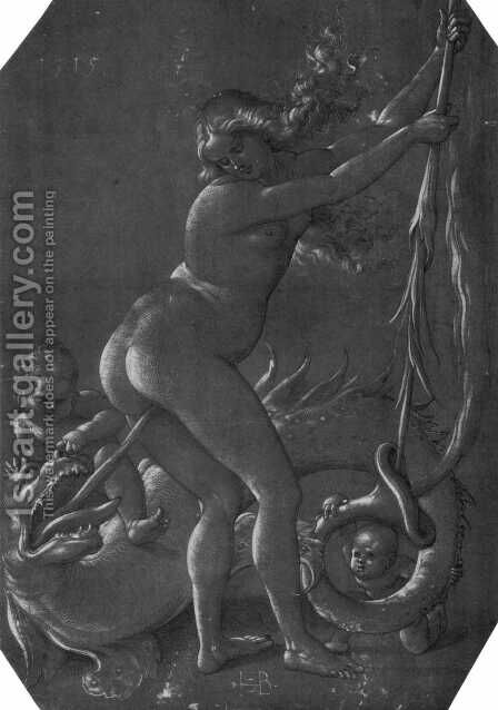 Standing witch with monster by Hans Baldung  Grien - Reproduction Oil Painting