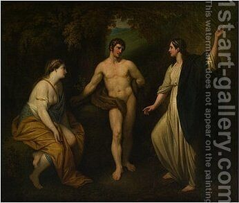 Choice of Hercules between Virtue and Pleasure by Benjamin West - Reproduction Oil Painting