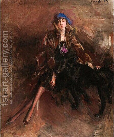 Lady with Black Greyhound by Giovanni Boldini - Reproduction Oil Painting