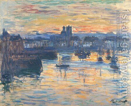 Port of Dieppe, Evening by Claude Oscar Monet - Reproduction Oil Painting
