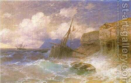 Tempest by coast of Odessa by Ivan Konstantinovich Aivazovsky - Reproduction Oil Painting