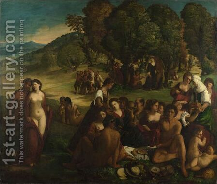 A Bacchanal by Dosso Dossi (Giovanni di Niccolo Luteri) - Reproduction Oil Painting