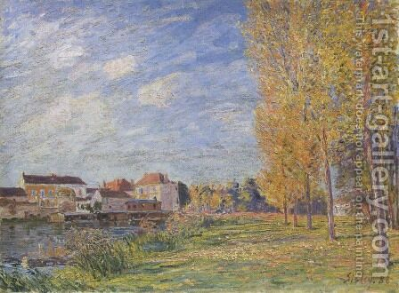 Indian Summer at Moret Sunday Afternoon by Alfred Sisley - Reproduction Oil Painting