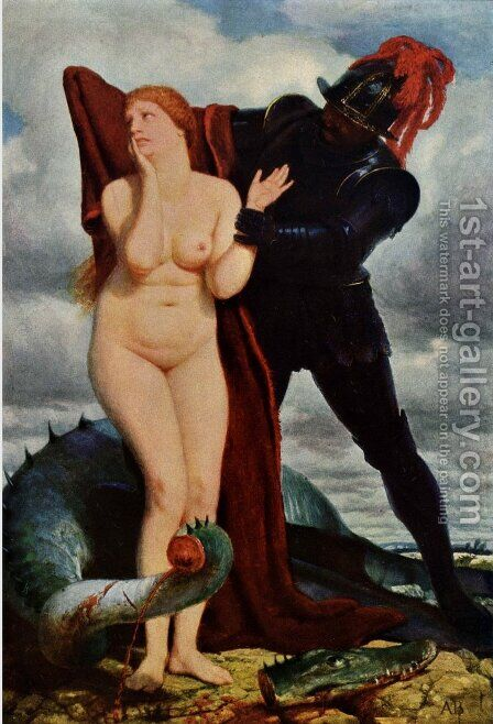 Angelika, guarded by a dragon by Arnold Böcklin - Reproduction Oil Painting