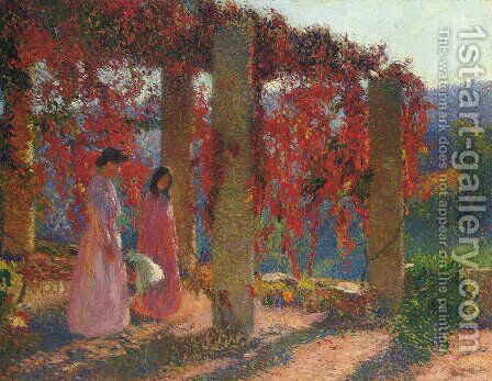 Young Women in Tonnelle by Henri Martin - Reproduction Oil Painting