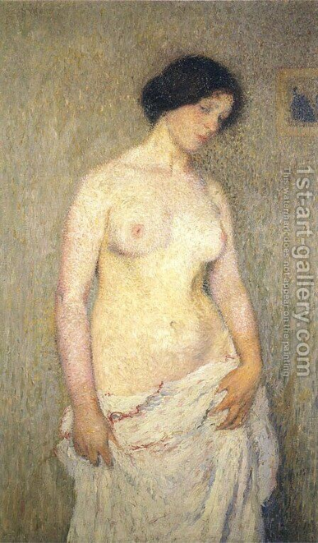 Young Nude Woman by Henri Martin - Reproduction Oil Painting