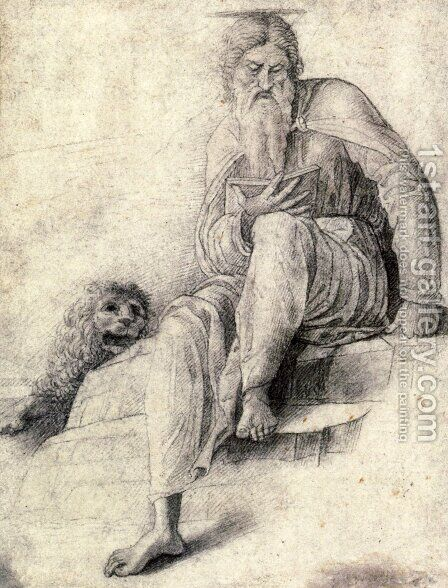 Saint Jerome reading with the Lion by Andrea Mantegna - Reproduction Oil Painting