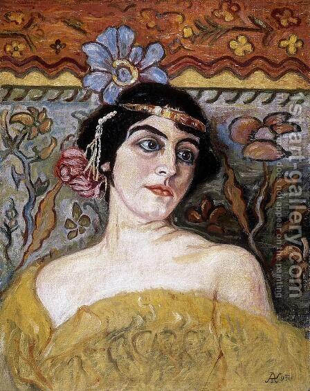 Lady with Tiara by Aladar Korosfoi-Kriesch - Reproduction Oil Painting