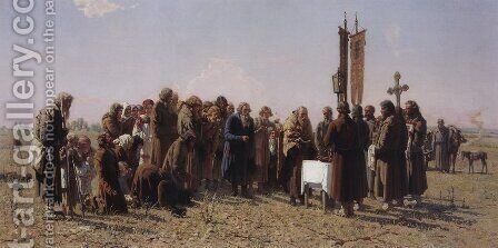 Prayer in time of drought by Grigori Grigorievich Mjasoedov - Reproduction Oil Painting