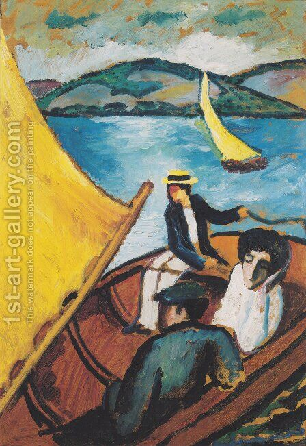 Sailing boat on the Tegernsee by August Macke - Reproduction Oil Painting