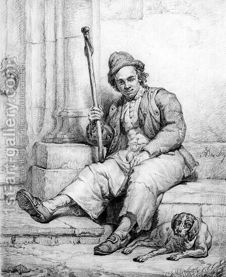 Sitting man with dog by Abraham van, I Strij - Reproduction Oil Painting