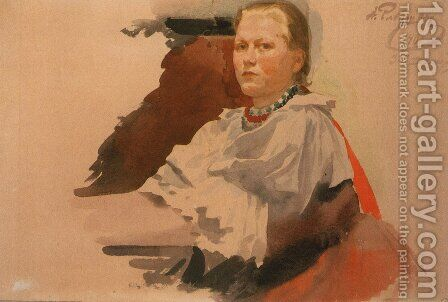 Woman in Novgorod Peasant Dress by Andrei Petrovich Ryabushkin - Reproduction Oil Painting