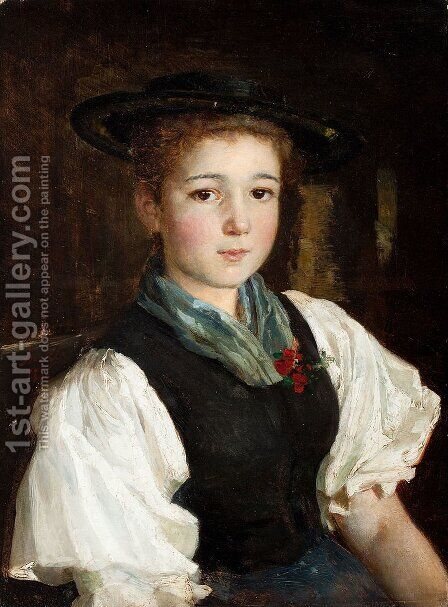Portrait of a girl by Albert Anker - Reproduction Oil Painting