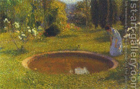 Girl by a Fountain by Henri Martin - Reproduction Oil Painting