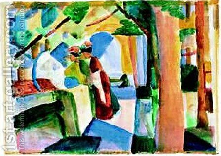 At the cemetery by August Macke - Reproduction Oil Painting
