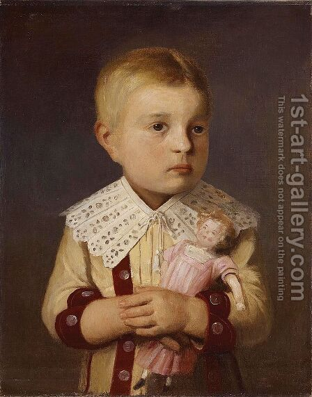 Kind mit Puppe by Albert Anker - Reproduction Oil Painting