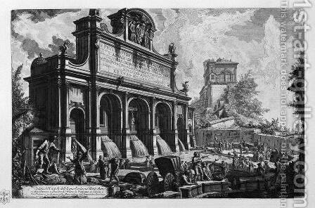 The Castle of the Acqua Felice by Giovanni Battista Piranesi - Reproduction Oil Painting