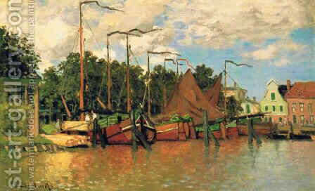 Boats at Zaandam by Claude Oscar Monet - Reproduction Oil Painting
