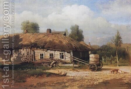 Landscape with hut by Alexei Kondratyevich Savrasov - Reproduction Oil Painting