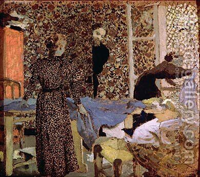 Interior of the work-table by Edouard  (Jean-Edouard) Vuillard - Reproduction Oil Painting