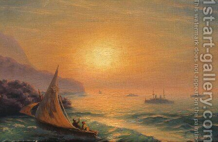 Sunset at Sea 5 by Ivan Konstantinovich Aivazovsky - Reproduction Oil Painting