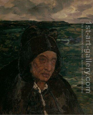 Old Woman of Brittany by Charles Cottet - Reproduction Oil Painting