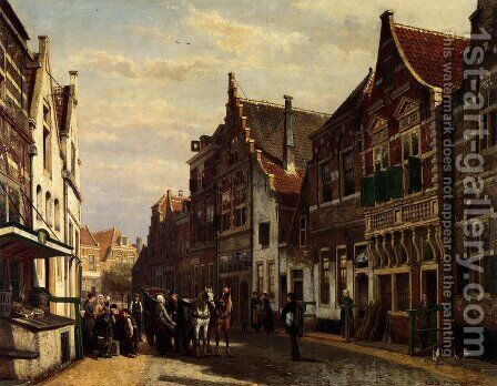 Oudewater Street At Summer by Cornelis Springer - Reproduction Oil Painting
