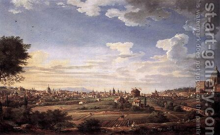View of Rome from Mt. Mario, in the Southeast by Giovanni Paolo Panini - Reproduction Oil Painting