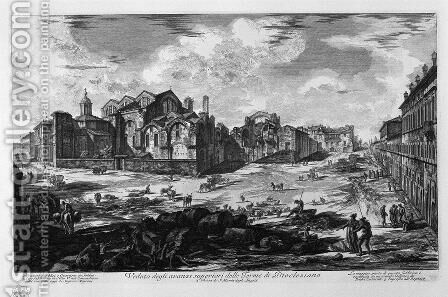 A view of the surpluses above the Baths of Diocletian by Giovanni Battista Piranesi - Reproduction Oil Painting