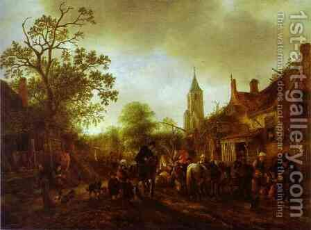 The Halt at the Inn by Adriaen Jansz. Van Ostade - Reproduction Oil Painting