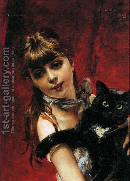 Girl with Black Cat by Giovanni Boldini - Reproduction Oil Painting