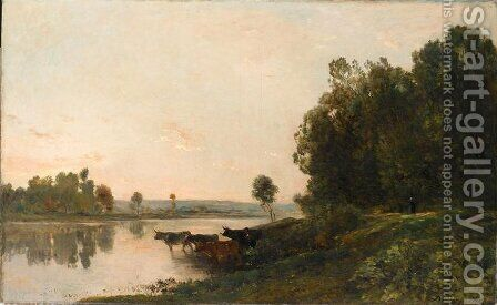 Sunrise, banks of the Oise by Charles-Francois Daubigny - Reproduction Oil Painting