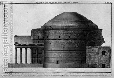 Lateral part of the Pantheon remains of the Baths of Agrippa which are supported by Giovanni Battista Piranesi - Reproduction Oil Painting
