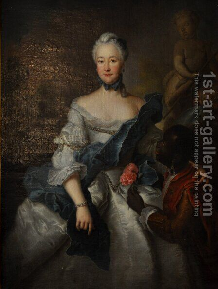 aroline of Hesse Darmstadt with her Moors by Antoine Pesne - Reproduction Oil Painting