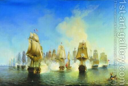 The Battle of Athos by Aleksei Petrovich Bogolyubov - Reproduction Oil Painting
