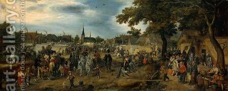 Princes Maurits and Frederik Hendrik of Orange at the Valkenburg horse fair by Adriaen Pietersz. Van De Venne - Reproduction Oil Painting