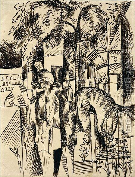 In the zoological garden by August Macke - Reproduction Oil Painting