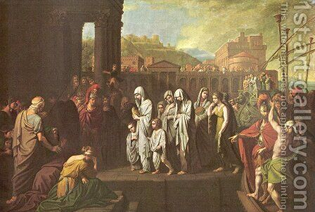 Agrippine Landing at Brundisium with the Ashes of Germanicus by Benjamin West - Reproduction Oil Painting
