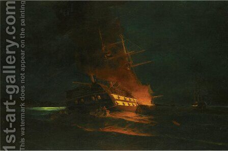 The burning of a Turkish frigate 2 by Constantinos Volanakis - Reproduction Oil Painting