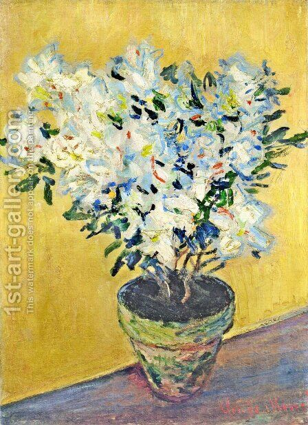 White Azaleas in a Pot 2 by Claude Oscar Monet - Reproduction Oil Painting
