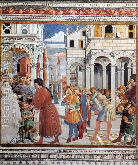 The School of Tagaste by Benozzo di Lese di Sandro Gozzoli - Reproduction Oil Painting
